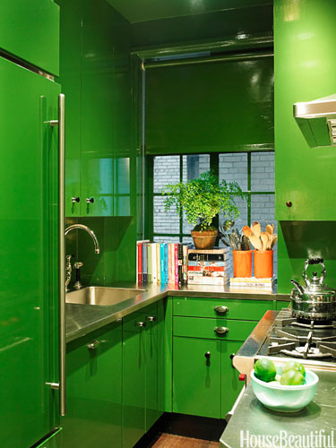 Kitchen by designer Miles Redd http://www.housebeautiful.com/decorating/colors/emerald-green-kitchen#slide-2