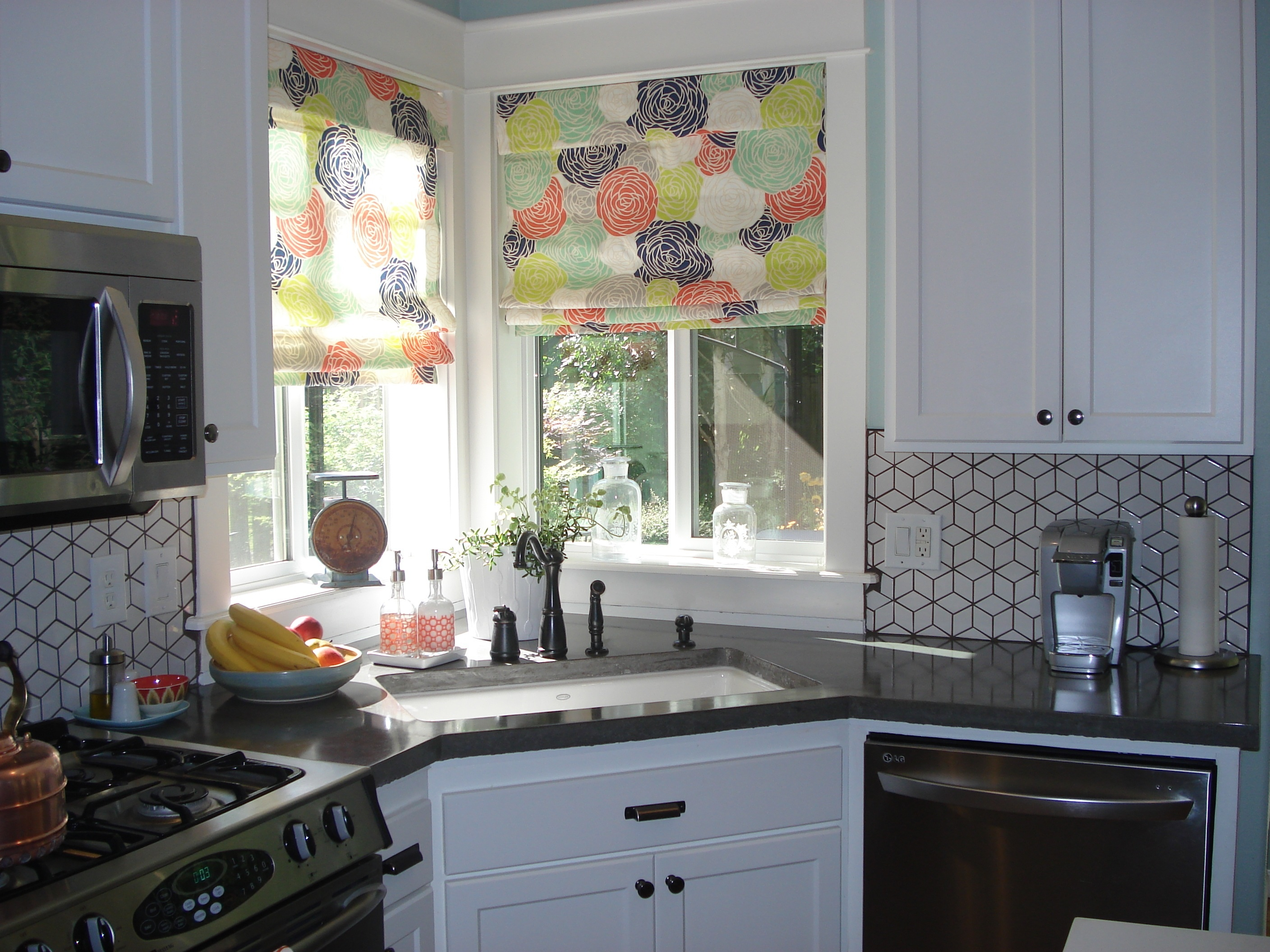 After, my hydrangea fabric on roman shades